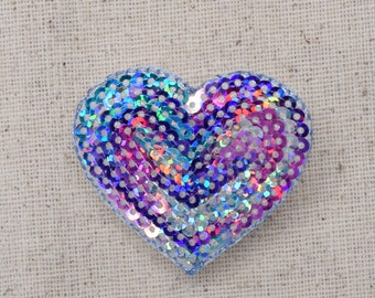 Multicolor - Sequin Heart - Valentine - Iron on Applique - Embroidered Patch - 1125785D