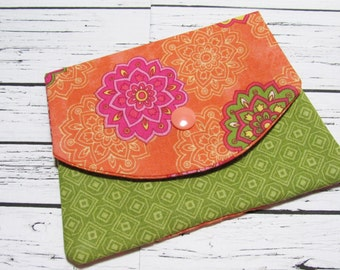 BOHO Hippie Chic Fabric Women's Wallet, Cotton Fabric Credit Card Holder, Fabric Coin Purse, Gift For Her Under 20