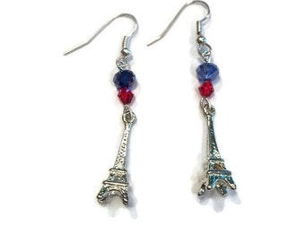 Eiffel Tower Charm Earrings - Eiffel Tower Dangle Earrings - Silver Jewelry - Dangle Earrings