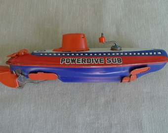 Vintage 1960's Lithograph Metal Tin Powerdive Submarine Collectible Wind-Up Toy