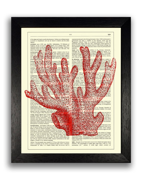 Bathroom Wall Decor Red : Red coral print art bathroom wall decor sea poster
