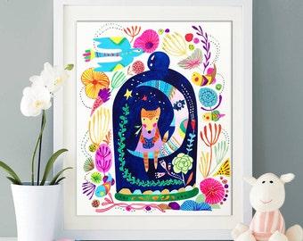 Little fox in a secret place Print, baby fox nursery, playroom printable, wall art decor, digital print, room decor, nursery art