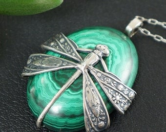 Necklace with Malachite, Dragonfly no.7 (#6864)