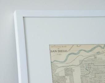 Framed 1901 San Diego California Antique Map