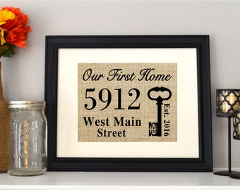 Our First Home Burlap Print - A Personalized New Home Sign