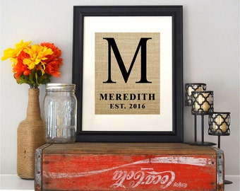 Custom Burlap Wedding Sign - Style 1