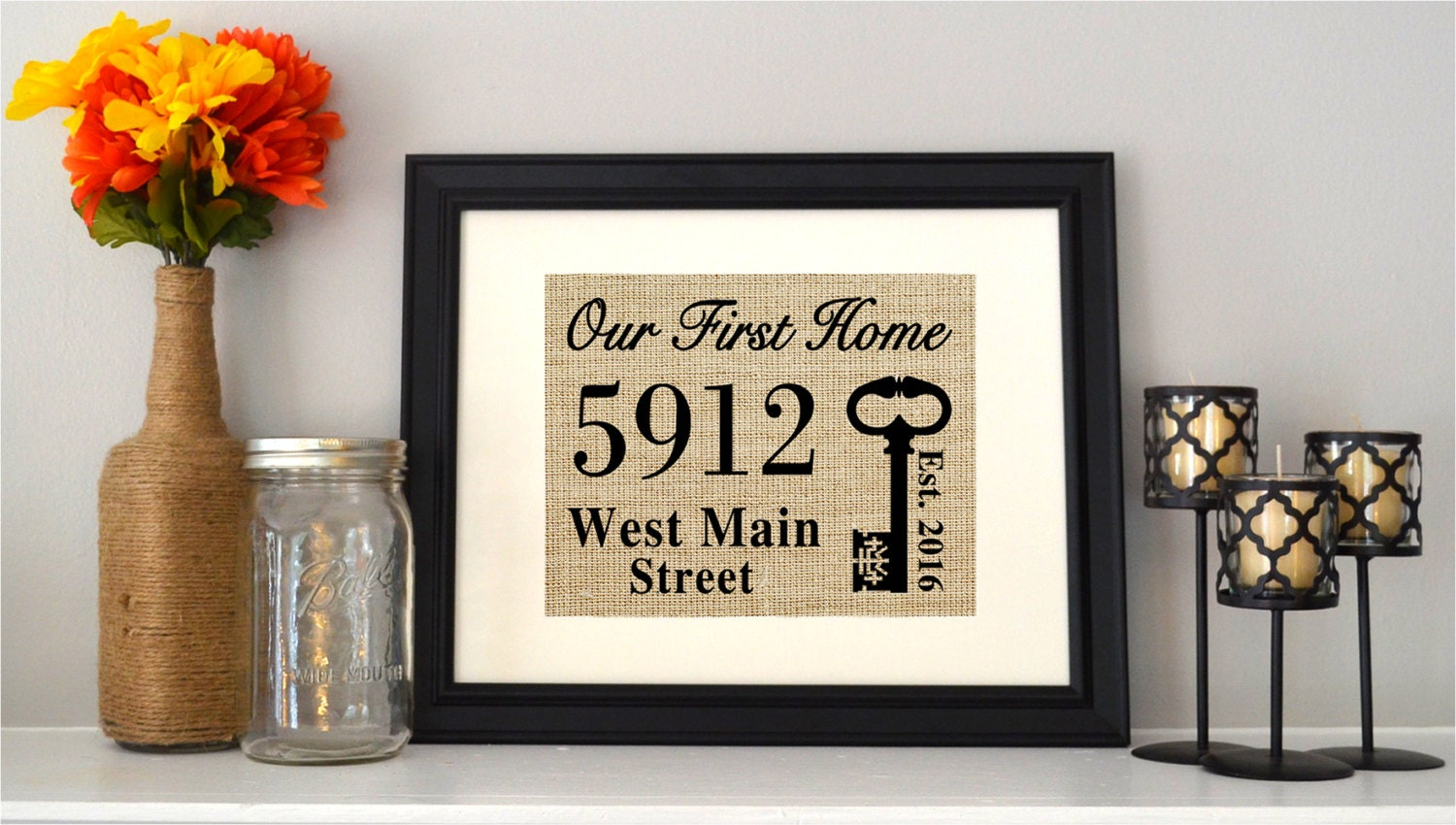 Our first home burlap print a personalized new home sign for New home sign