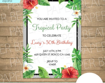 TROPICAL INVITATION / Printable tropic invitation / Digital invitation / Tropical Party Invitation / Bridal Shower / Tropical Wedding