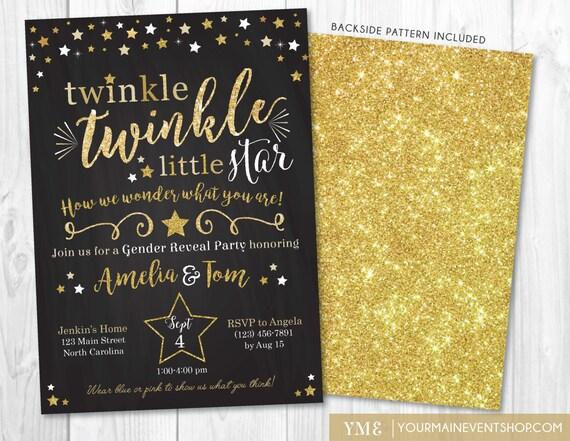 Gender Reveal Twinkle Twinkle Little Star Invitation • Twinkle Star Gender Reveal Party Invite • Gold Glitter Baby Shower Printable Invite
