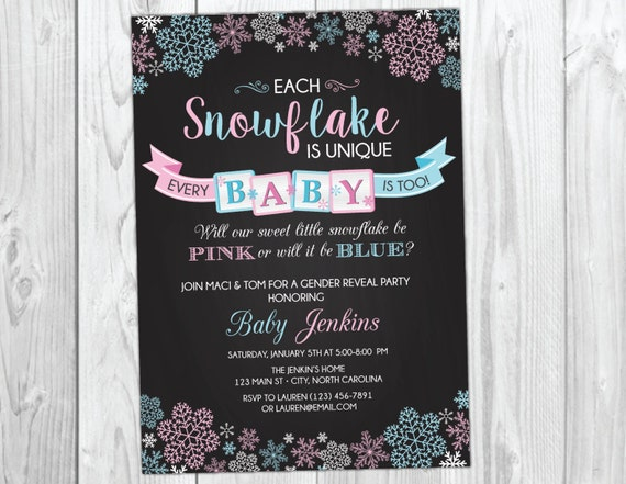 Snowflake Gender Reveal Party Invitation Winter Wonderland Gender