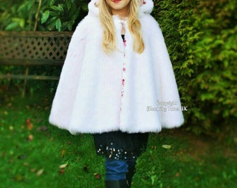 Child hooded fully lined white Faux Fur Cape Cloak - Winter, Christmas, Wedding, Pageant, Flower Girl