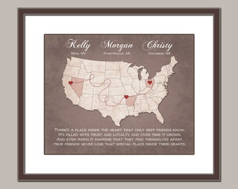 Long Distance Best Friend Gift - Friend Christmas Gift - Customized Map - Best Friend Print - Poem For Friend Distance Friendship 8x10 PRINT
