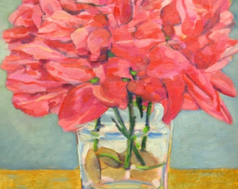 Oil painting of crimson red peonies in crystal vase, stretched 16x20 canvas, yellow ochre, green, tiffany blue, white