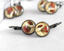 Red flower Drop earrings Yellow earrings set for sisters Gift for teen Romantic gift for wife Little earrings Round earrings Gift for her