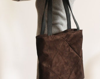 Brown tote bag - Vegan tote bag / Brown tote with zipper - Large tote bag for women / Fabric tote