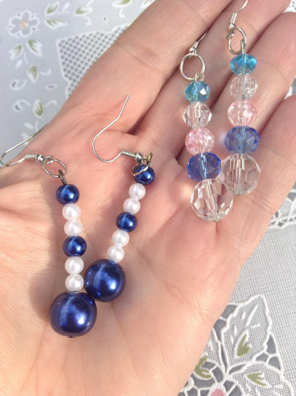 earring pack 2 pair earrings blue earrings dangle earrings