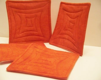 Quilted Coasters  - Tangerine Tango -  hand dyed fabrics - Set of 4 - reversible