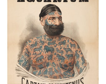 Tattooed Man Sideshow Poster - Captain Costentenus Vintage Art Print - Antique Advertising Art - Tattoo Greek - Circus Ephemera