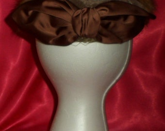 Vintage Fur, Velvet & Satin Bow Chocolate Brown Halo Style Hat