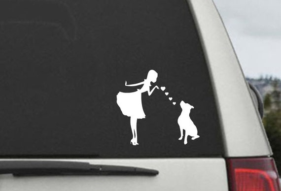 Pinup Girl with Pitbull Dog -  Pitbull Mom Blowing Kisses Decal - Car Window Decal Sticker Vinyl Laptop Decal