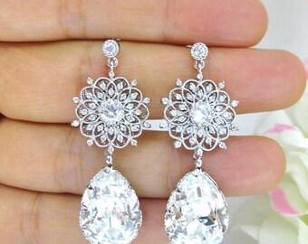 Bridal Crystal Earrings Wedding Earrings Swarovski Crystal Teardrops Earrings Floral Earrings Chandelier Earrings Bridesmaids Gift (E177)