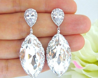 Swarovski Crystal Teardrop Earrings Navette Drop Earrings Wedding Jewelry Bridesmaid Gift Cubic Zirconia Earrings Square Cut Earrings (E195)