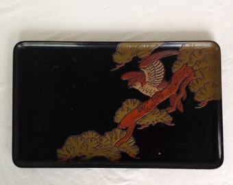 Japanese Lacquered Wood Tray Depicting a Hawk