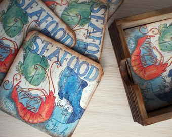 Coasters Rustic Set of 6 coasters Coasters with holder Nautical Wooden holder Sea theme Beer lover Gift
