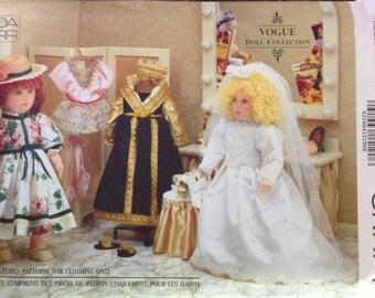 "Vogue 8557 - 18"" Doll Costume Collection Ballerina, Edwardian, Royal Queen, Bride"