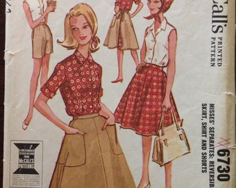 McCalls 6730 - 1960s Front Button Shirt with Convertible Neckline, Gored Back Wrap Reversible Skirt and Shorts  - Size 10 Bust 31