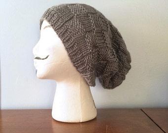 "Mens Slouchy Beanie ""Manx"" - Knitted Slouch Hat - Basket Weave Beanie - Grey Winter Hat - Grunge Beanie - Hipster Beanie - Knit Toque"