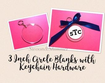 Acrylic Blanks, 3 Inch Circles w 1 Hole, Keychain blanks, blank acrylics, circle keychains, monogram keychain, monogram gifts circle blanks