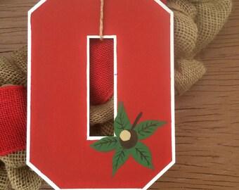 Ohio State wreath Burlap wreath Red Ohio State University Buckeye