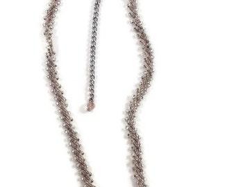Clear rockeries Pearl Necklace with silver chain extension