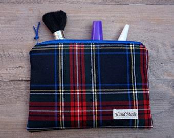 Plaid Medium Makeup Bag - Oilskin Wax Cosmetic Bag - Tartan Zipper Pouch - Plaid Toiletry Bag