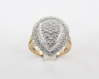 Diamond Ring 10 Kt Yellow Gold Ladies Cluster Design Band Size 7 1/2 1.50 carats