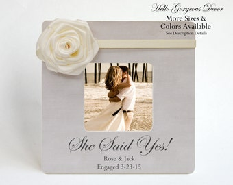 Engagement Gift to Couple Picture Frame Personalized SHE SAID YES Gift to Her Engaged Wedding Gift Ideas Custom Photo Frames Bridal Shower