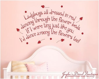 Ladybugs all dressed in red dancing through the flower beds. - Wall Decal