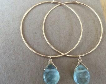 Aquamarine Teardrop Hoops (Gold)