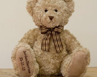 My Birthday Teddy Traditional with Checked Ribbon