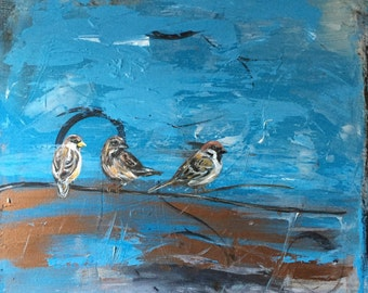 """Three Little Birds- Abstract Painting with Birds, Large - 20"""" x 24"""""""