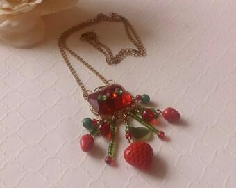 Vintage Fun Strawberry Pendant Strawberry Necklace Rhinestone Pendant 1980s