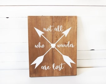 Woodland Nursery Decor- Rustic Nursery- Not All Who Wander Are Lost Sign-  Rustic Home Decor- Boho Nursery Decor- Wanderlust Decor