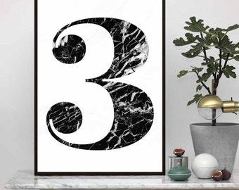 Number 3 - Scandinavian Design Poster, Nordic Design Print , Nordic Minimalist Art, Instant download, Typography Wall Art Prints