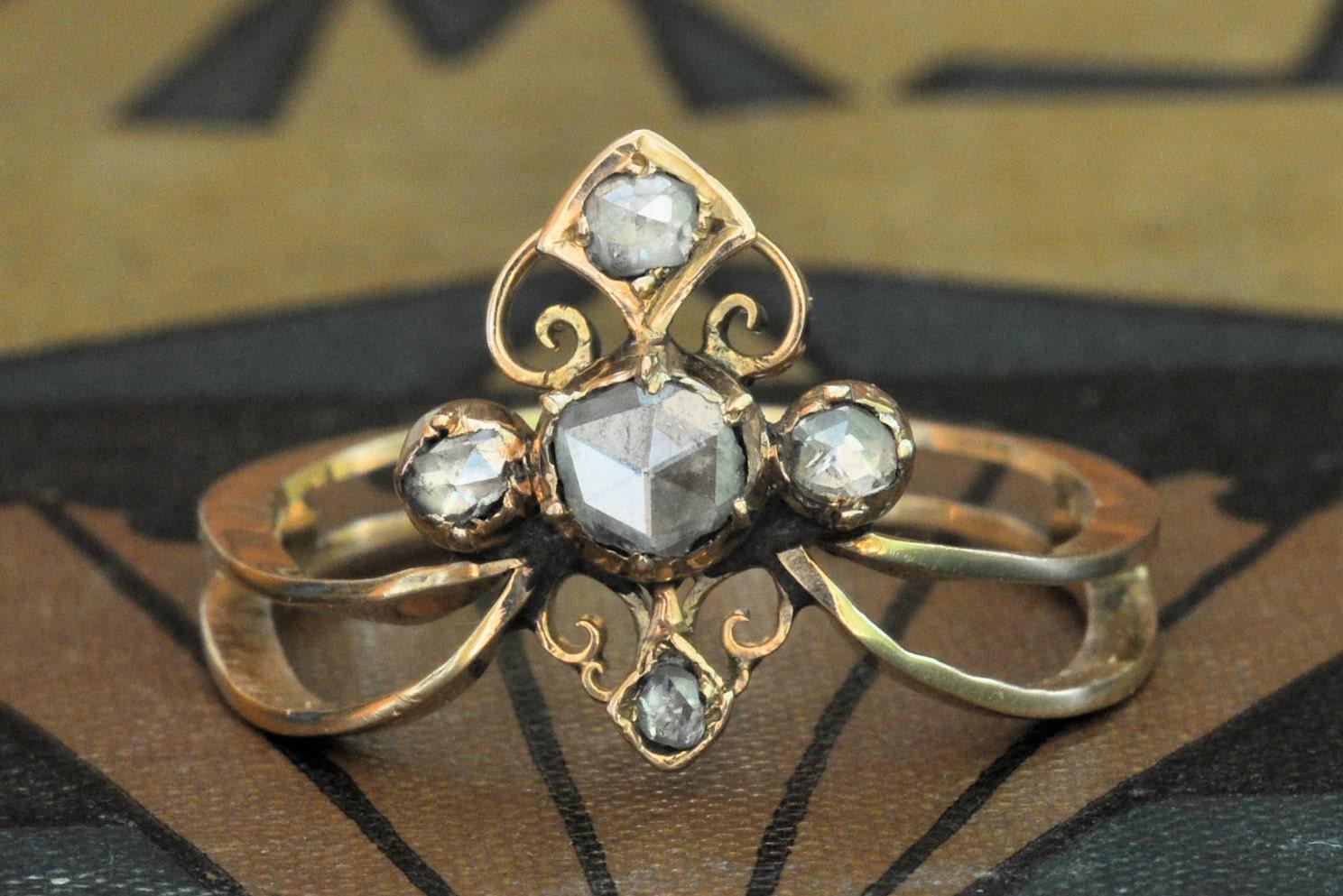 Art Nouveau Engagement Ring-Unique Engagement Ring-1800s