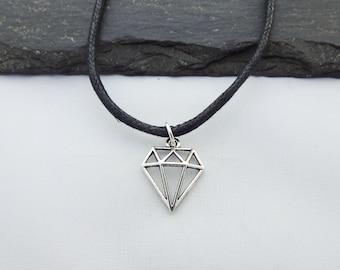 Diamond Choker, Diamond Choker Necklace, Charm Necklace, Black Cord Necklace, Diamond Necklace, Choker Necklace, Festival Choker, Jewelry