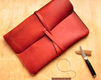 Personalised Simple Leather Laptop Case / Laptop Bag / Carry Case / Macbook / Macbook Air / Laptop Sleeve in Ruby Red Leather