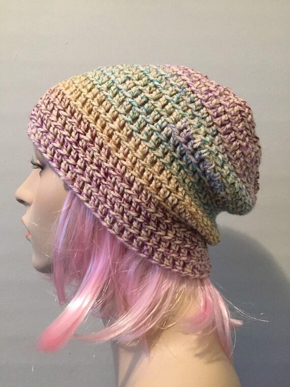 Slouchy beanie hat // mens womens // striped beanie hat // crochet beanie hat // slouch beanie hat //