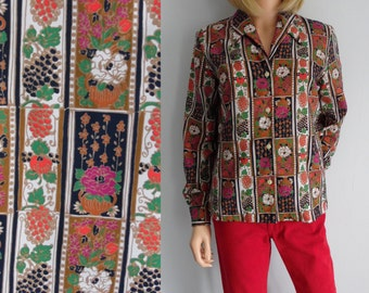 Womens shirt blouse, bright multi patterned top, french 60s vintage retro, daggar collar, long sleeve, small medium