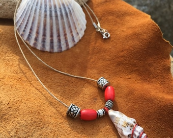 Seashell Pendant | Seashell Necklace with Beads - Boho Coastal Beach Nautical Ocean Sea Style Jewelry Accessory